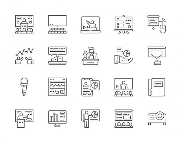 Ensemble d'icônes de ligne de présentation d'entreprise.