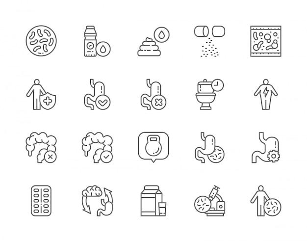 Ensemble d'icônes de ligne probiotique.