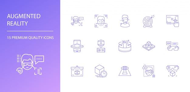 Ensemble d'icônes de ligne de réalité augmentée.