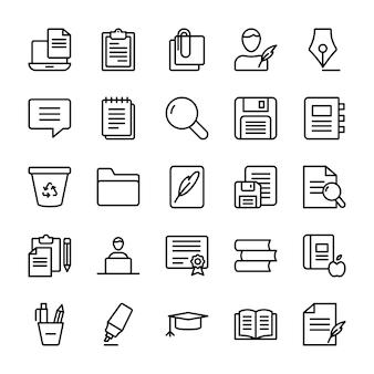 Ensemble d'icônes de ligne de rédaction