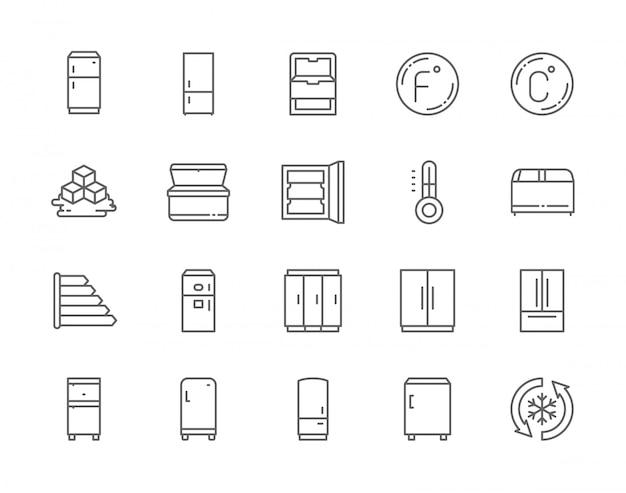 Ensemble d'icônes de ligne de réfrigérateur.