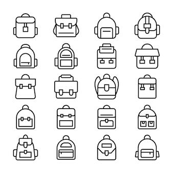 Ensemble d'icônes de ligne de sac à dos