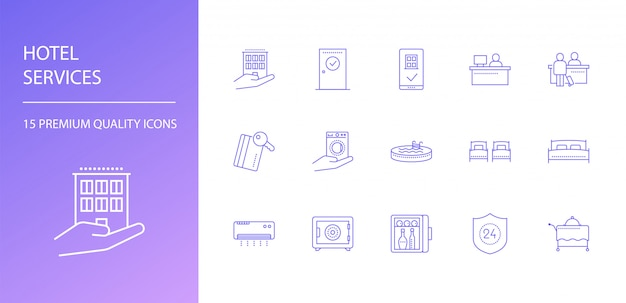 Ensemble d'icônes de ligne de services hôteliers