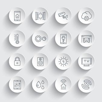 Ensemble d'icônes de ligne de système de maison intelligente