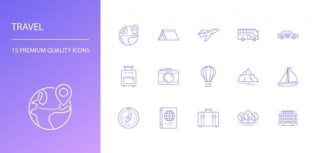 Ensemble d'icônes de ligne de voyage
