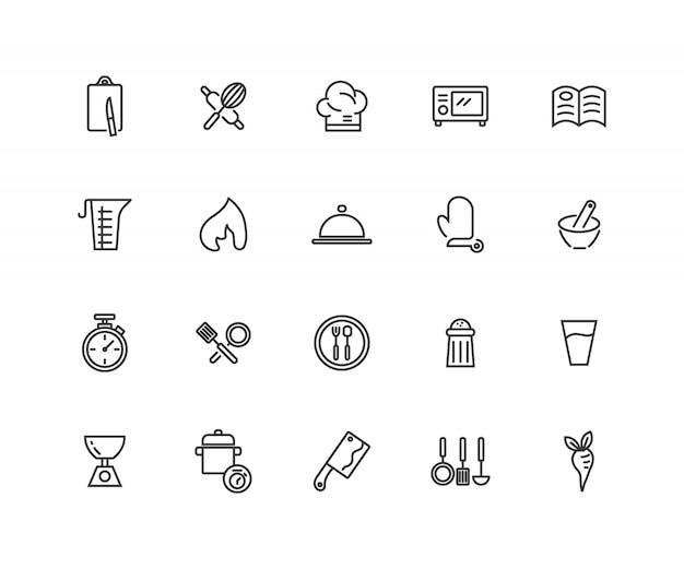 Ensemble d'icônes de lignes connexes de cuisson.