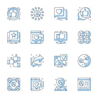Ensemble d'icônes linéaires de communication sur les médias sociaux.