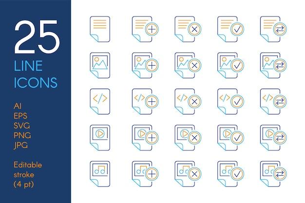 Ensemble d'icônes linéaires de couleur de documents et de fichiers. pictogrammes de ligne mince bleu et jaune de stockage de données