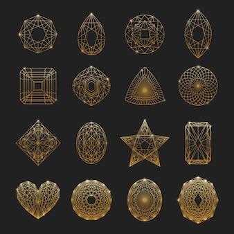 Ensemble d'icônes linéaires de pierres précieuses