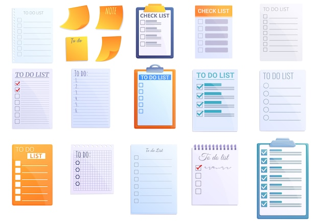 Ensemble d'icônes de liste de tâches, style cartoon