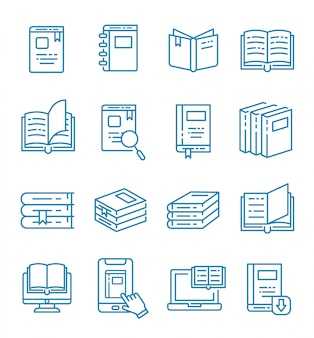 Ensemble d'icônes de livre et e-book avec style de contour