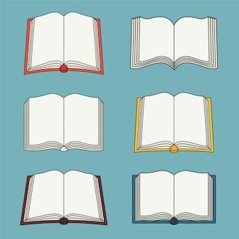 Ensemble d'icônes de livre ouvert