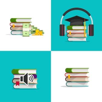 Ensemble d'icônes de livres en tant que concept d'investissement dans les connaissances et d'apprentissage de l'étude des manuels audio
