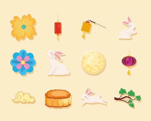 Ensemble d'icônes lune chinoise