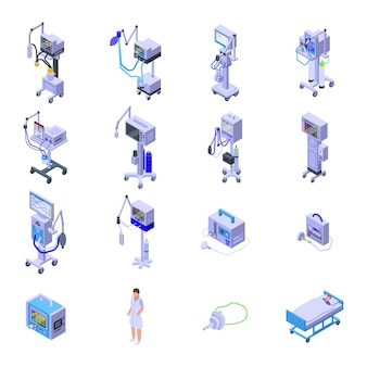 Ensemble d'icônes de machine médicale de ventilateur. ensemble isométrique d'icônes de machine médicale de ventilateur pour le web