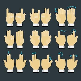 Ensemble d'icônes mains geste multitouch