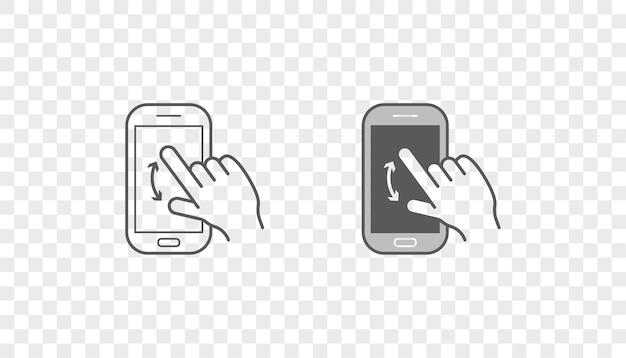 Ensemble d'icônes avec des mains tenant un appareil intelligent