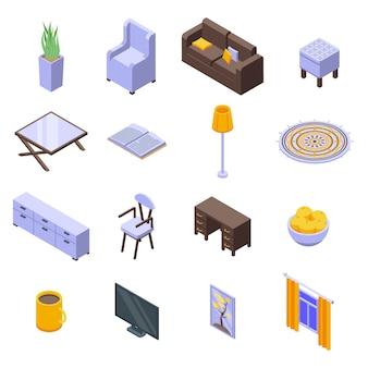 Ensemble d'icônes de maison confortable.
