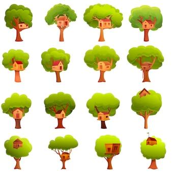 Ensemble d'icônes de maison dans les arbres, style cartoon