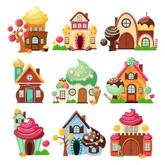 Ensemble d'icônes de maisons de bonbons