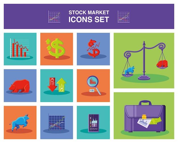 Ensemble d'icônes marché boursier