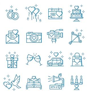 Ensemble d'icônes de mariage avec style de contour