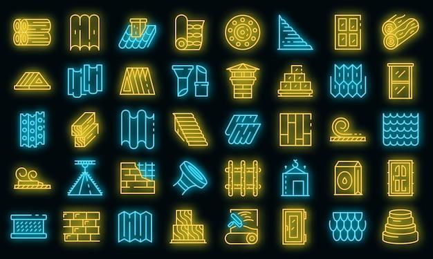 Ensemble d'icônes de matériaux de construction. ensemble de contour des icônes vectorielles de matériaux de construction couleur néon sur fond noir