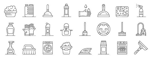 Ensemble d'icônes de matériel de nettoyage, style de contour