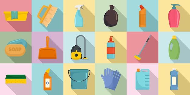 Ensemble d'icônes de matériel de nettoyage