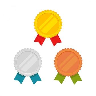 Ensemble d'icônes de médailles isolé