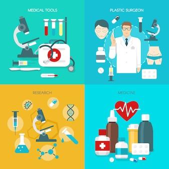 Ensemble d'icônes de médecine plat