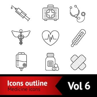 Ensemble d'icônes de médecine