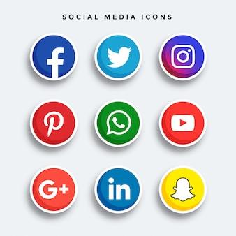 Ensemble d'icônes de médias sociaux arrondis