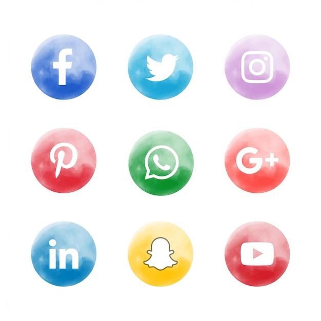 Ensemble d'icônes de médias sociaux doux aquarelle