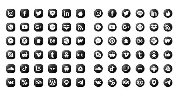 Ensemble d & # 39; icônes de médias sociaux isolé