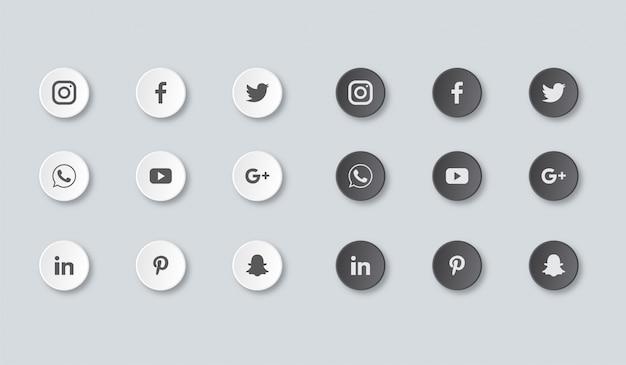Ensemble d'icônes de médias sociaux isolé