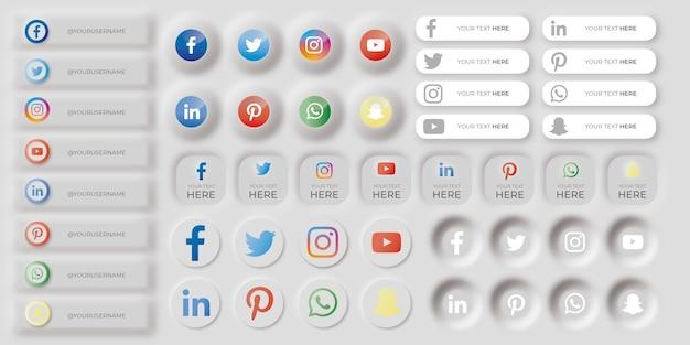 Ensemble d'icônes de médias sociaux neumorphiques