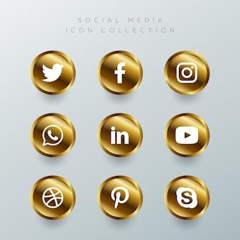 Ensemble d'icônes de médias sociaux d'or