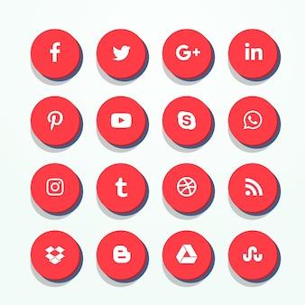 Ensemble d'icônes de médias sociaux rouges 3d