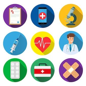 Ensemble d'icônes médicales. illustration.