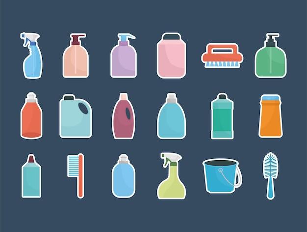 Ensemble d & # 39; icônes de ménage sur fond bleu foncé