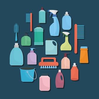 Ensemble d'icônes de ménage sur fond bleu