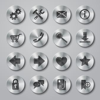 Ensemble d'icônes métalliques