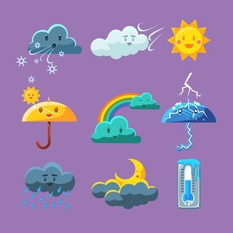 Ensemble d'icônes météo enfantine