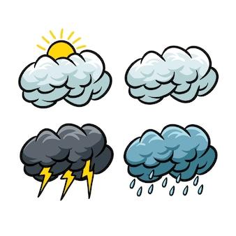 Ensemble d'icônes météo avec style cartoon