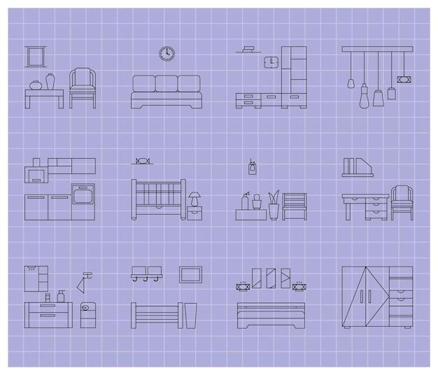 Ensemble d'icônes de meubles de maison. contour