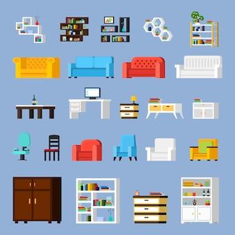 Ensemble d'icônes de meubles de maison
