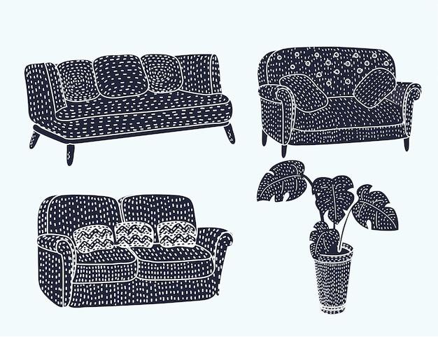 Ensemble d'icônes de meubles noirs confortables