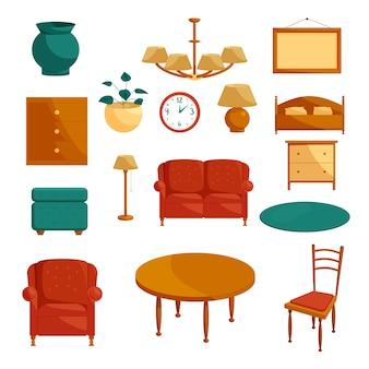 Ensemble d'icônes de meubles, style cartoon