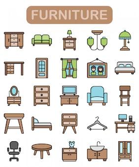 Ensemble d'icônes de meubles, style de couleur linéaire premium